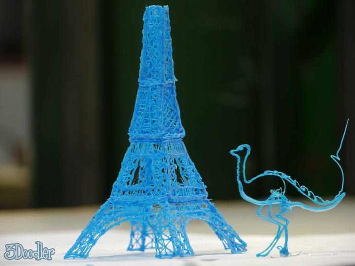 3d pen, doodle, fun. Eiffel tower, ostrich