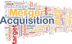 Mergers and acquisitions text graphic