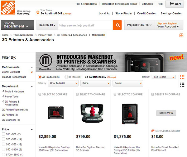 makerbot, 3D printing, Home Depot, retail