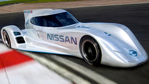 nissan, leaf, EV, lemans, racer, race car, car, electric, green, france,