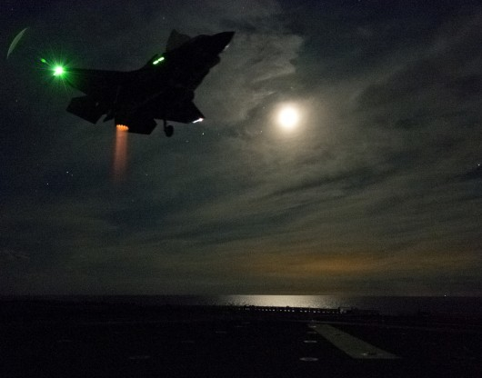 F-35B, Navy, Marines, Military, aircraft, landing, carrier, night, VTOL