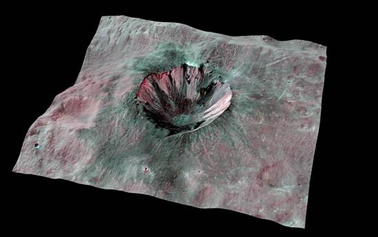 vesta, crater, nasa, 3d, asteroid