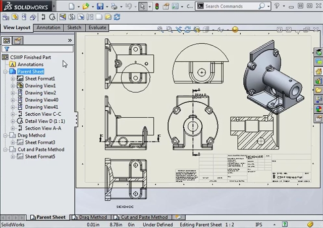 How To Move Drawing Views Between Sheets In Solidworks